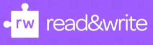 "Texthelp Read&Write puzzle icon in white with ""read&write"" text to the right. Purple background."