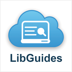 Logo image for Libguides. A blue cloud with a white laptop icon in front.