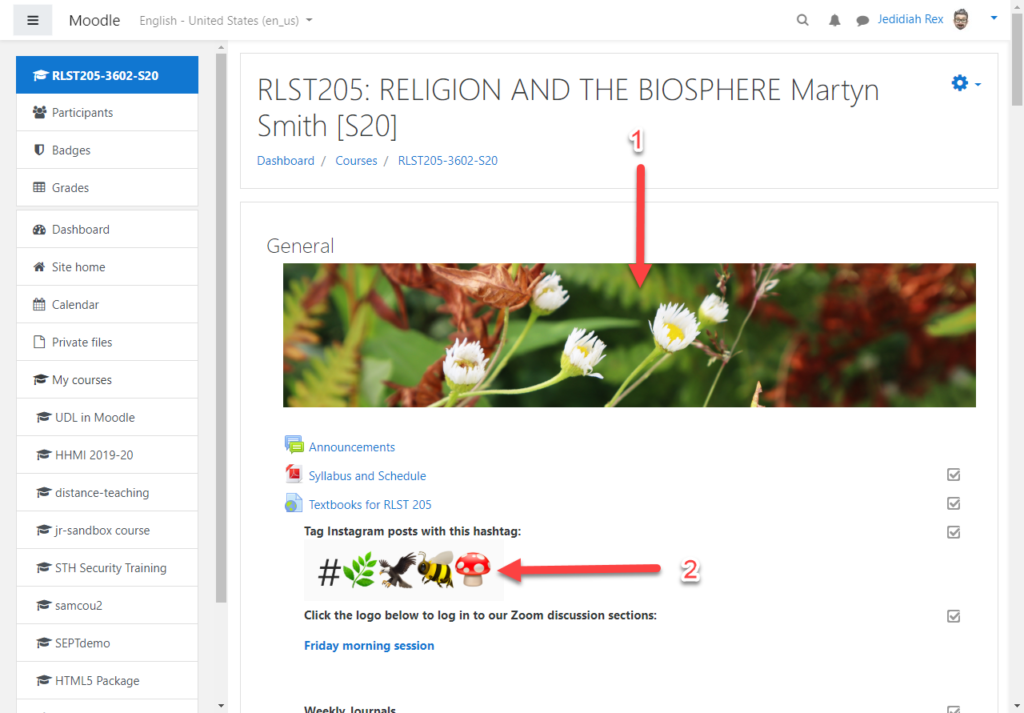 A Moodle course page showing a banner image of white flowers in front of green leaves and a list of emoji images for students to use on Instragram.
