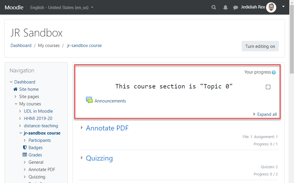 "Moodle course page with the first topic section, ""Topic Zero,"" highlighted inside a red box."