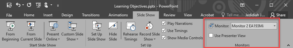 "PowerPoint Slideshow Ribbon. Monitor settings highlighted in red box. Presentation monitor selected. ""Use presenter view"" deselected."