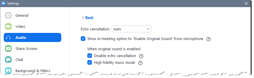 Original sound settings in Zoom which provide high fidelity audio.
