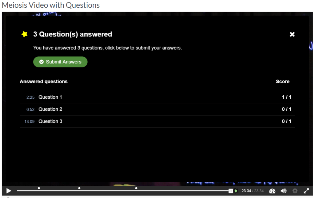 H5P interactive video submit answers screen containing a green submit button.